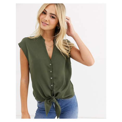 Oasis shirt with tie front in khaki