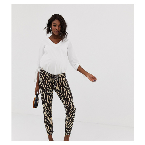 ASOS DESIGN Maternity under the bump tiger print ultimate peg trouser