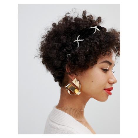 ASOS DESIGN velvet headband with pearl detail in black
