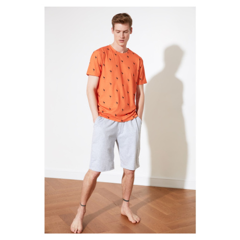 Trendyol Orange Print Knitted Pyjama Set