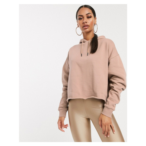 ASOS DESIGN cropped boxy hoodie co-ord in sand