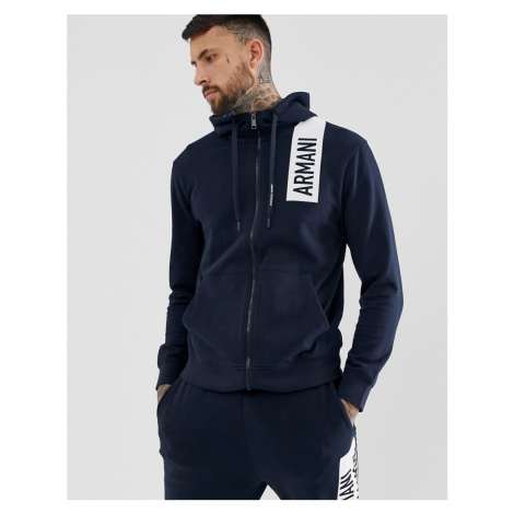 Armani Exchange hooded chest logo zip through sweat in navy