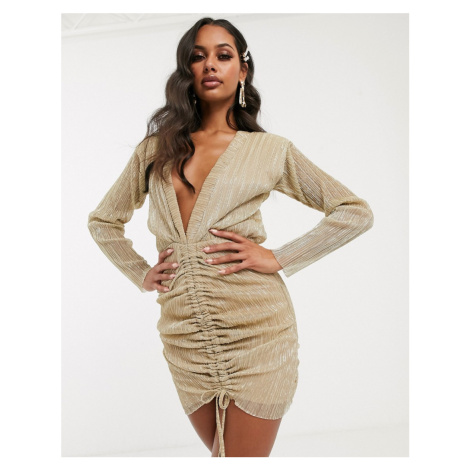 PrettyLittleThing plunge mini dress with ruched detail in gold
