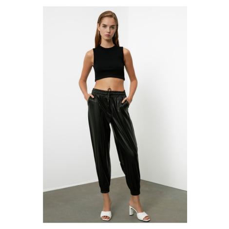 Trendyol Black Leather Looking Pants