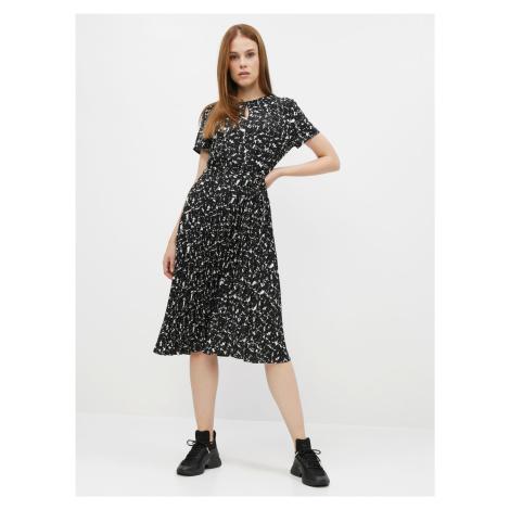 Czarna wzorzysta sukienka z plisowaną spódnicą Dorothy Perkins