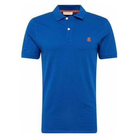 SELECTED HOMME Koszulka królewski błękit / nakrapiana pomarańcza