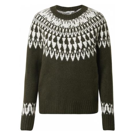 TOM TAILOR Sweter ciemnozielony / biały
