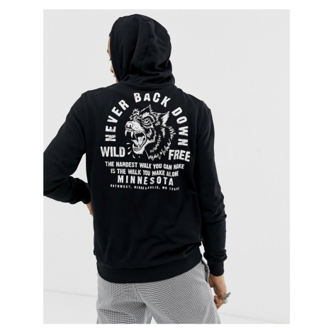 YOURTURN hoodie in black with tiger chest and back print