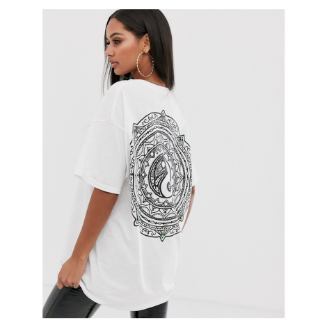 HNR LDN ying yang back print graphic t-shirt in oversized fit Honour