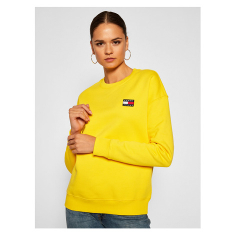 Tommy Jeans Bluza Badge Crew DW0DW07786 Żółty Regular Fit Tommy Hilfiger
