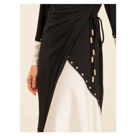 Tory Burch Sukienka koktajlowa Mixed Material Wrap 57281 Czarny Regular Fit