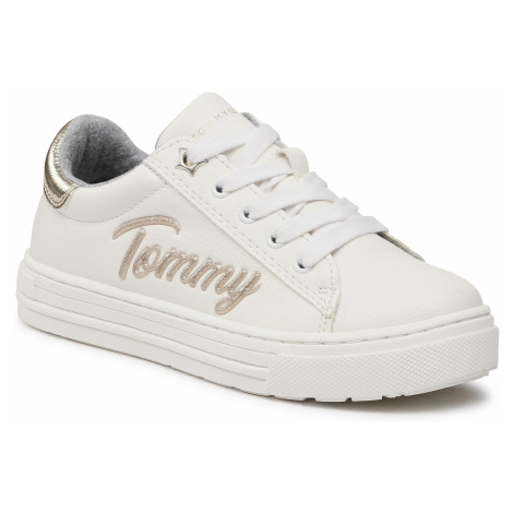 Sneakersy TOMMY HILFIGER - Low Cut Lace-Up Sneaker T3A4-31024-1190 M White/Platinum X048