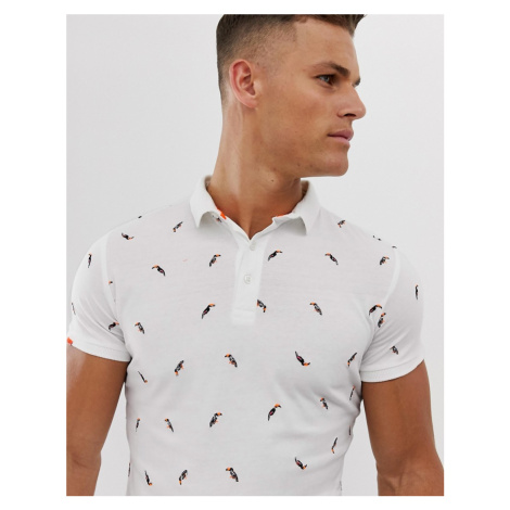 Superdry bird print polo in white