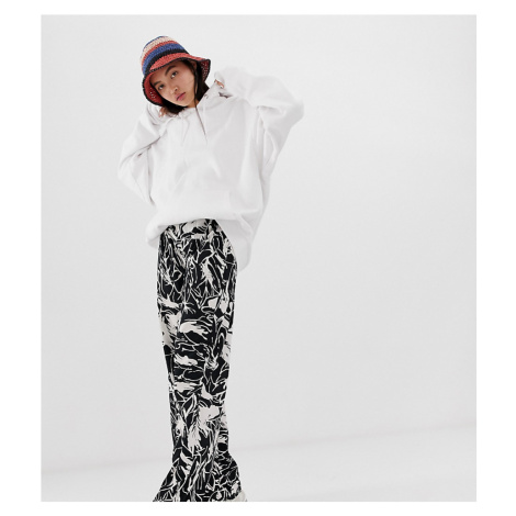 Weekday wide leg trousers in black and white forest print