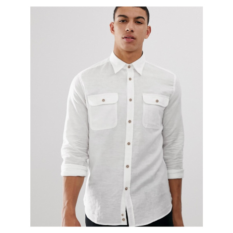 United Colors Of Benetton linen shirt with pockets in white
