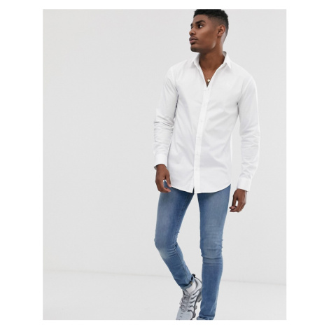 SikSilk long sleeve muscle fit shirt in white
