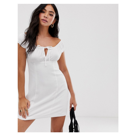 Pull&Bear linen milkmaid mini dress in white Pull & Bear