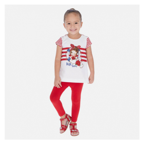 Mayoral Komplet t-shirt i legginsy 3723 Czerwony Regular Fit