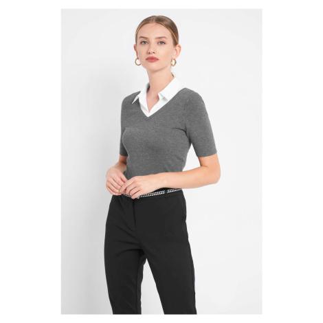 Bluzka z koszulową wstawką Orsay