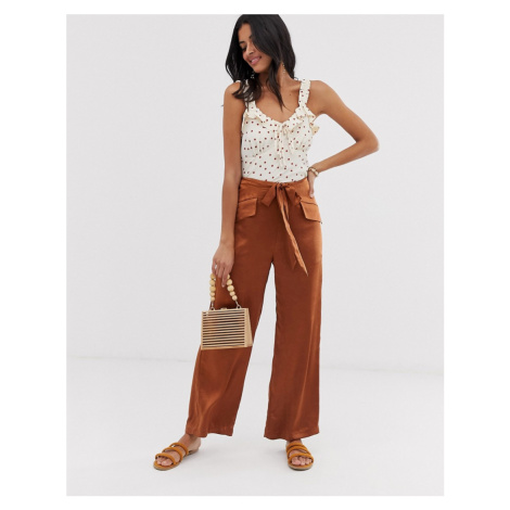 Lost Ink wide leg trousers in hammered satin