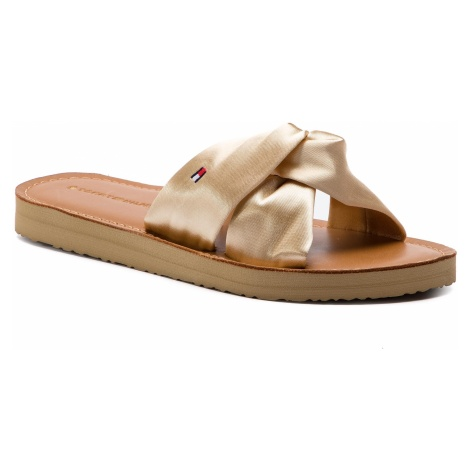 Klapki TOMMY HILFIGER - Satin Elevated Beach Sandal FW0FW04014 Warm Sand 298