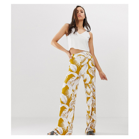 ASOS DESIGN Tall wide leg trousers in palm print