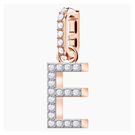 """Przywieszka """"E"""" z kolekcji Swarovski Remix, biała, w odcieniu różowego złota"""