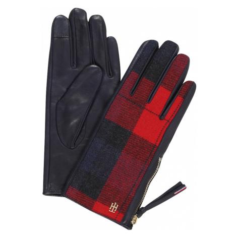 TOMMY HILFIGER Rękawiczki pięciopalczaste czarny / czerwony