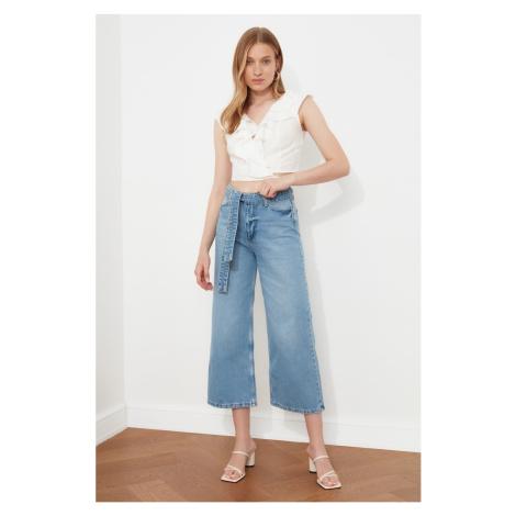 Trendyol Niebieski sznurowanie Detal z wysokim stanem Culotte Jeans