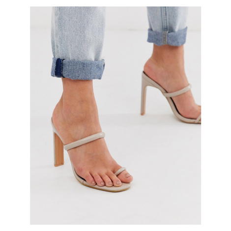 Miss Selfridge heeled sandals with toe post in beige