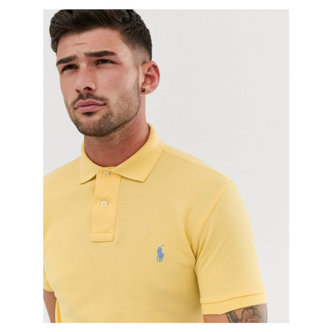 Polo Ralph Lauren washed pique polo slim fit player logo in light yellow