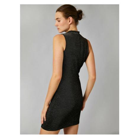 Koton Metallic Dress Suknia Wieczorowa Sukienka High Neck Bez rękawów Krótki
