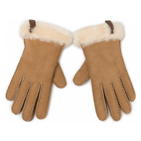 Ugg Rękawiczki Damskie W Shorty Glove W Leather Trim 17367 Brązowy