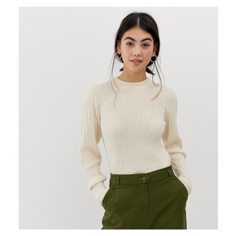 ASOS DESIGN Petite rib knit jumper in natural look yarn
