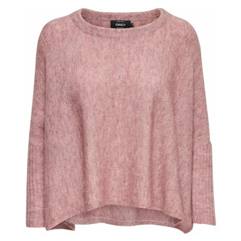 ONLY Sweter oversize różowy pudrowy