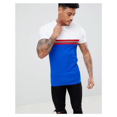 ASOS DESIGN muscle fit t-shirt with contrast taping and panel in blue