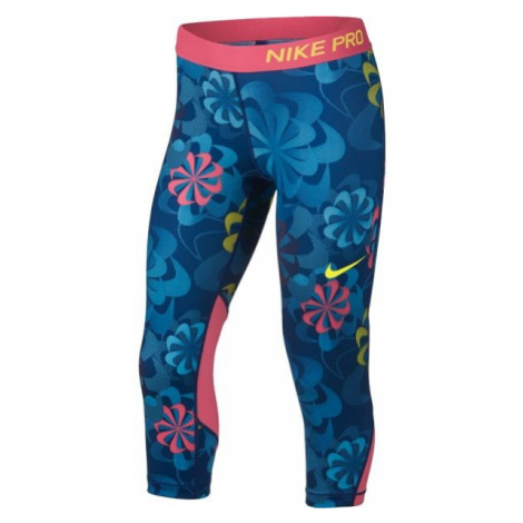 Nike NP CAPRI AOP1 niebieski XS - Legginsy sportowe dziewczęce