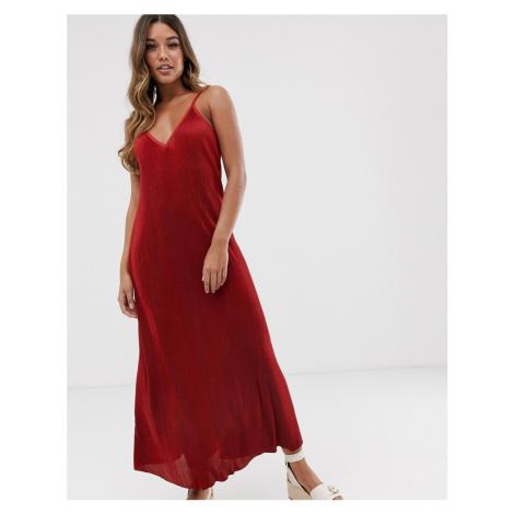 ASOS DESIGN plisse plunge cami maxi dress