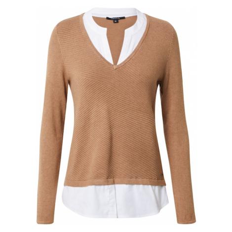 COMMA Sweter brązowy / biały