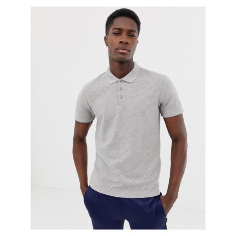 Selected Homme waffle polo shirt in grey