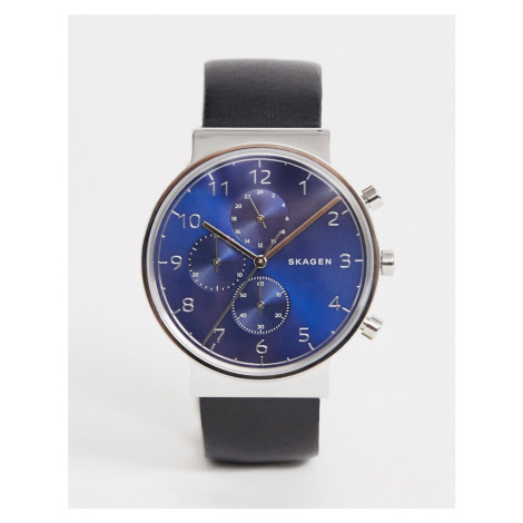 Skagen mens stainless steel watch with blue dial