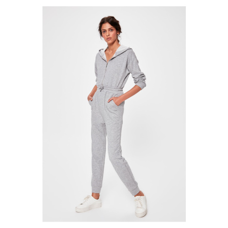 Trendyol Grey Hooded Knitted Jumpsuit