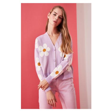 Women's cardigan Trendyol Floral Pattern