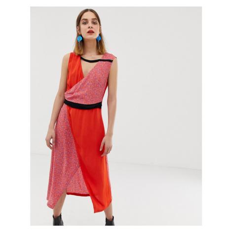 2NDDAY layered print panel midi dress
