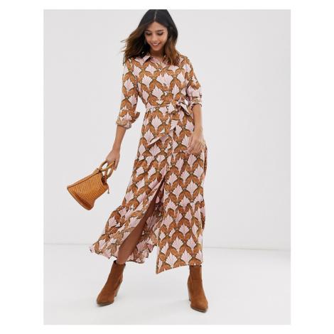 Y.A.S paisley printed maxi shirt dress