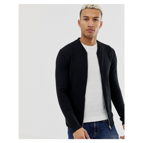 ASOS DESIGN muscle jersey bomber in black