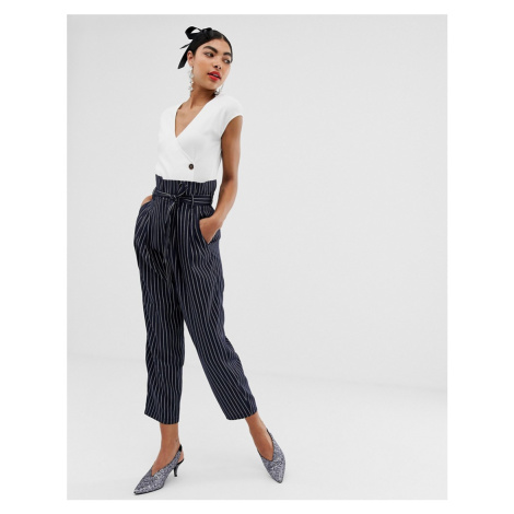 Unique21 pinstripe tailored paperbag waist trousers