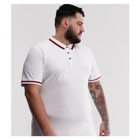 Only & Sons tipped collar polo in white