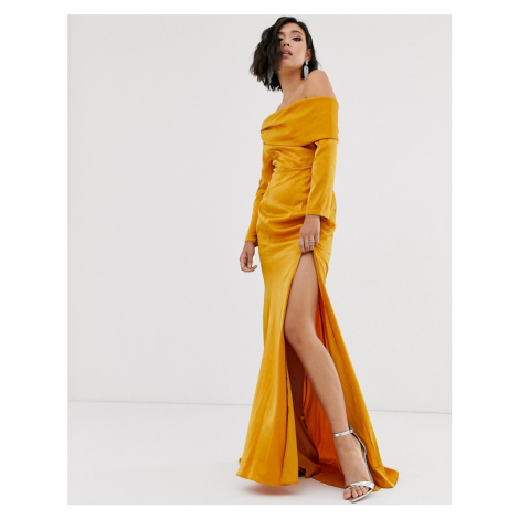 Yaura bardot maxi dress with high split and fishtail in gold