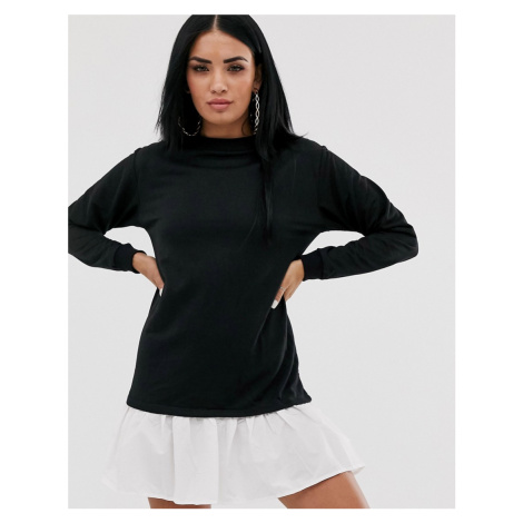 PrettyLittleThing sweater dress with poplin frill detail in black